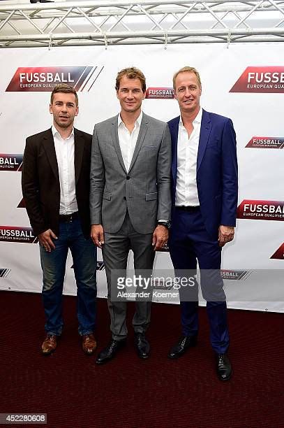 Marco Hagemann Jens Lehmann and Florian Koenig attend the offical Television programmpreview of german television production RTL on July 17 2014 in...