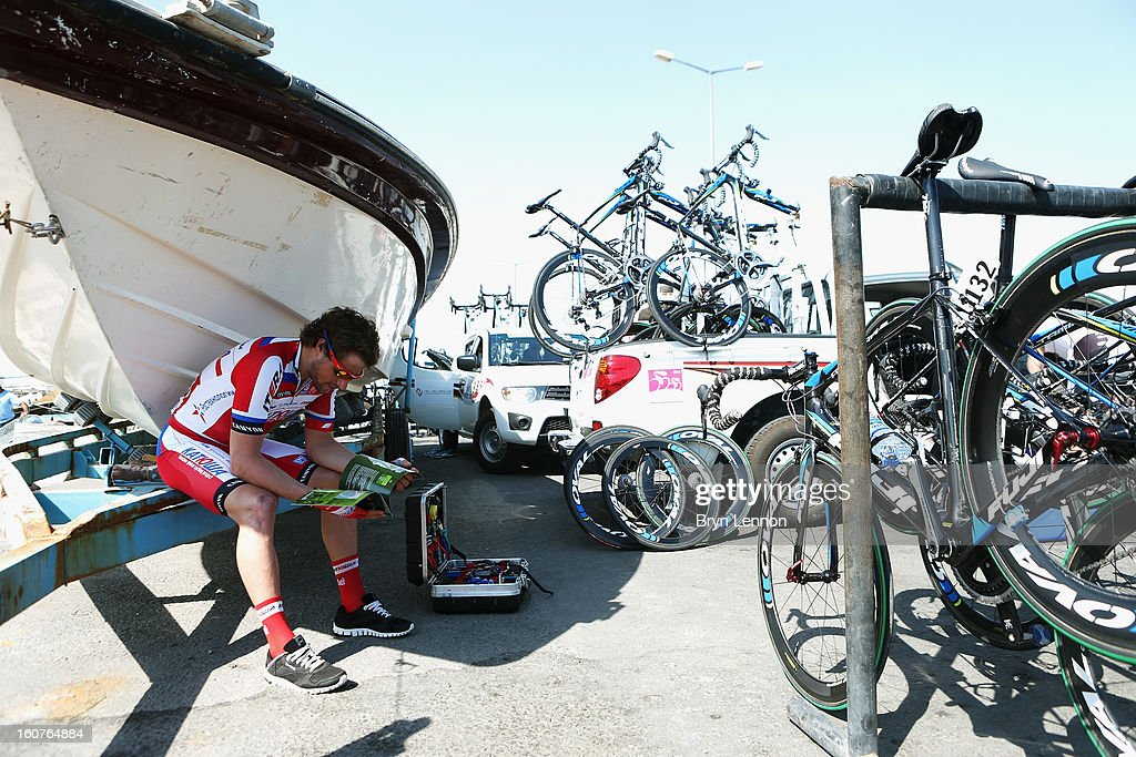 Marco Haller of Austria and the Katusha Team studies the route book at the start of stage three of the Tour of Qatar from Al Wakra to Mesaieed on February 5, 2013 in Doha, Qatar.