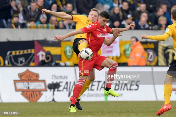 Marco Hartmann of SG Dynamo Dresden and Damir Kreilach of 1 FC Union Berlin during the game between SG Dynamo Dresden and dem 1 FC Union Berlin on...