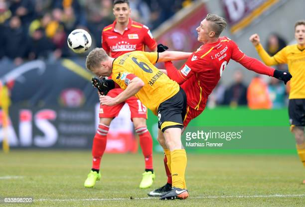 Marco Hartmann of SG Dynamo Dresden and Sebastian Polter of 1FC Union Berlin during the game between SG Dynamo Dresden and dem 1 FC Union Berlin on...