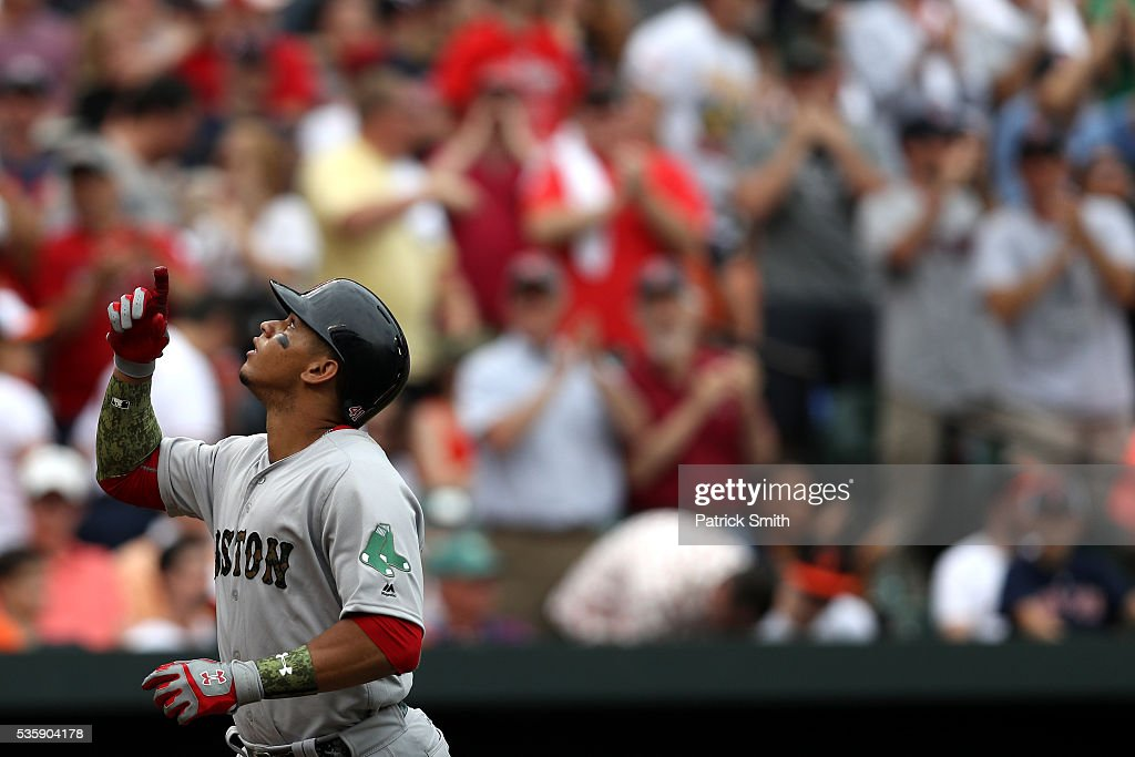 Marco Hernandez #41 of the Boston Red Sox celebrates after hitting a three run home run during the eighth inning at Oriole Park at Camden Yards on May 30, 2016 in Baltimore, Maryland.