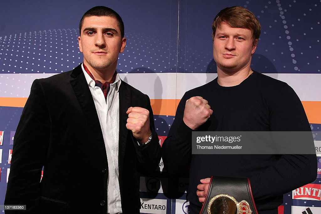 <a gi-track='captionPersonalityLinkClicked' href=/galleries/search?phrase=Marco+Huck&family=editorial&specificpeople=2264905 ng-click='$event.stopPropagation()'>Marco Huck</a> (L) of Germany and <a gi-track='captionPersonalityLinkClicked' href=/galleries/search?phrase=Alexander+Povetkin&family=editorial&specificpeople=2351769 ng-click='$event.stopPropagation()'>Alexander Povetkin</a> (R) of Russia pose after a press conference at the Porsche Arena on January 16, 2012 in Stuttgart, Germany. The WBA heavy weight championship fight between <a gi-track='captionPersonalityLinkClicked' href=/galleries/search?phrase=Marco+Huck&family=editorial&specificpeople=2264905 ng-click='$event.stopPropagation()'>Marco Huck</a> of Germany and <a gi-track='captionPersonalityLinkClicked' href=/galleries/search?phrase=Alexander+Povetkin&family=editorial&specificpeople=2351769 ng-click='$event.stopPropagation()'>Alexander Povetkin</a> of Russia will be held on January 25, 2012 at the Porsche Arena in Stuttgart, Germany.