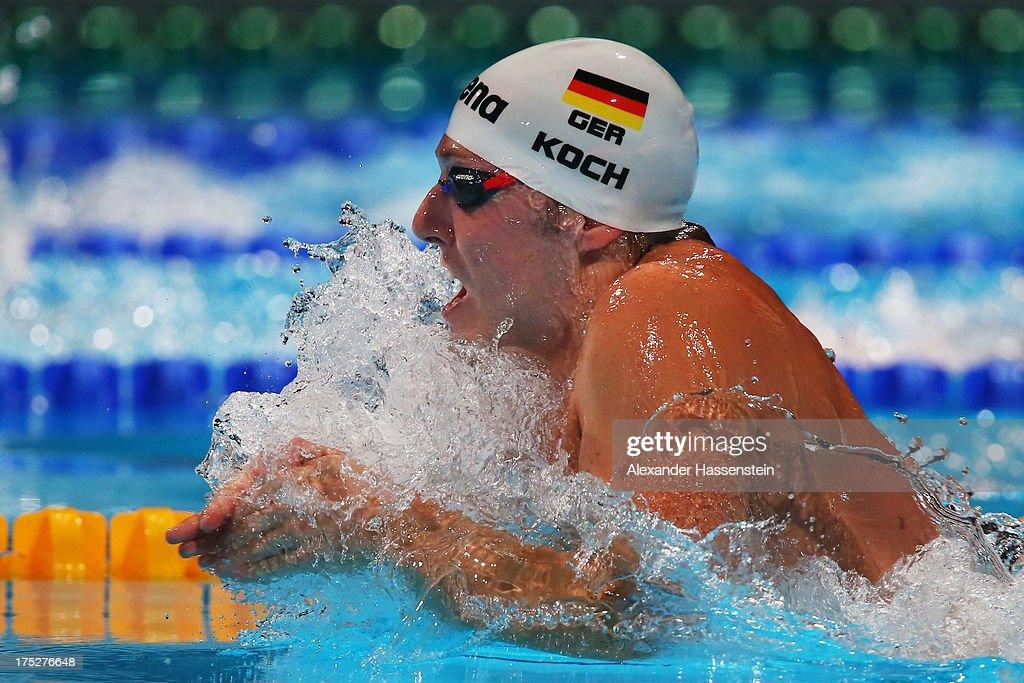 Marco Koch competes during the Swimming Men's Breaststroke 200m Semifinal 2 on day thirteen of the 15th FINA World Championships at Palau Sant Jordi on August 1, 2013 in Barcelona, Spain.