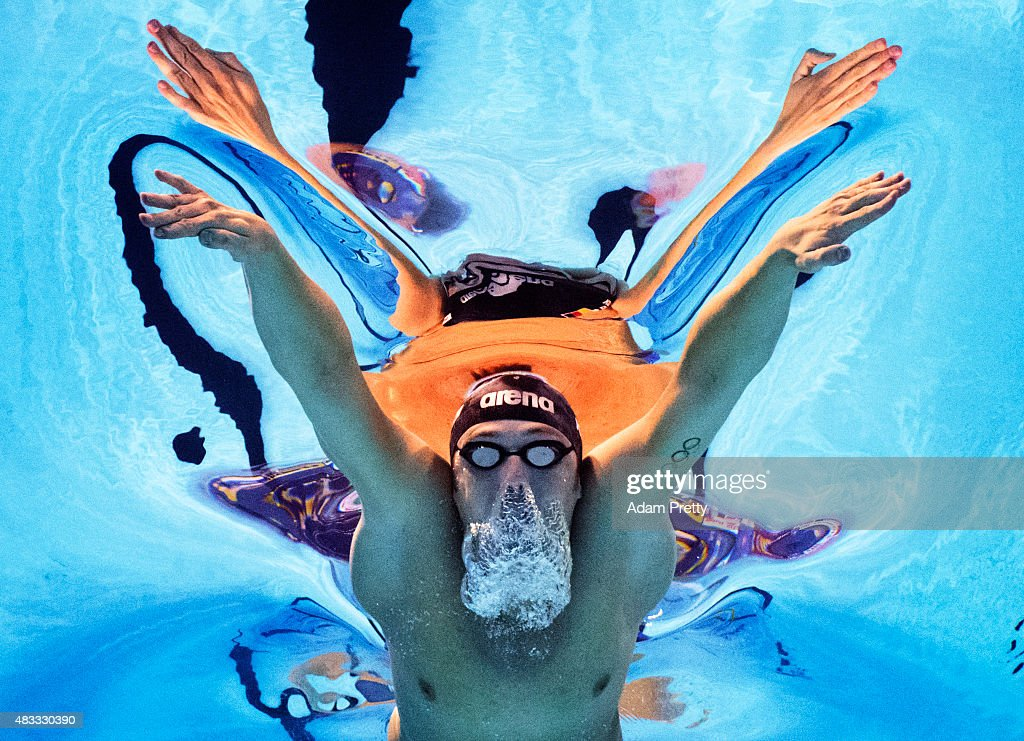 Marco Koch of Germany competes in the Men's 200m Breaststroke Final on day fourteen of the 16th FINA World Championships at the Kazan Arena on August 7, 2015 in Kazan, Russia.