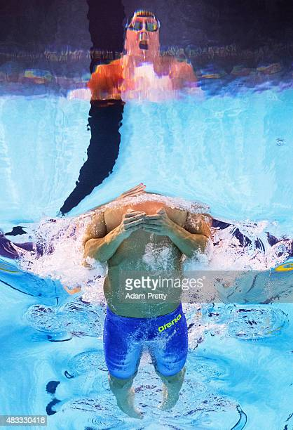 Marco Koch of Germany competes in the Men's 200m Breaststroke Final on day fourteen of the 16th FINA World Championships at the Kazan Arena on August...