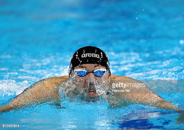 Marco Koch of Germany competes in the Men's 200m Breaststroke finals during day one of the FINA Swimming World Cup Dubai 2016 at Hamdan Sports...