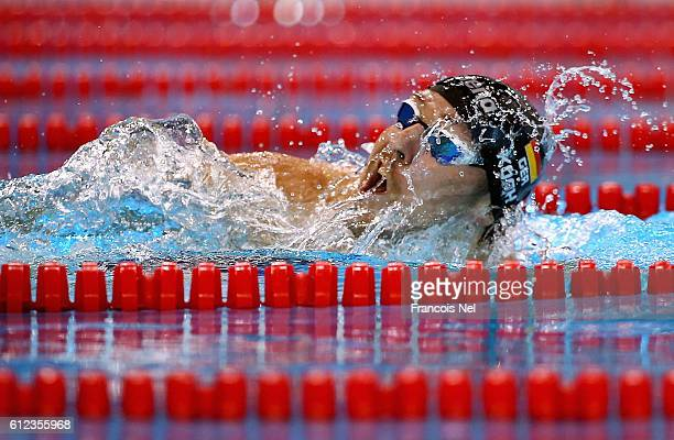 Marco Koch of Germany competes in the Men's 200m Breaststroke heats during day one of the FINA Swimming World Cup Dubai 2016 at Hamdan Sports Complex...