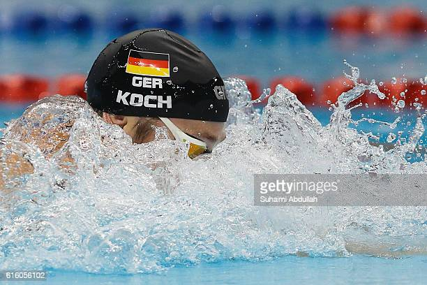 Marco Koch of Germany competes in the Men's Breaststroke 200m Final during the 2016 FINA Swimming World Cup at OCBC Aquatic Centre on October 21 2016...