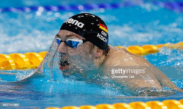 Marco Koch of Germany in action in the Men's 200m Breastroke Final during the 33rd LEN European Swimming Championships 2016 at Aquatics Centre on May...