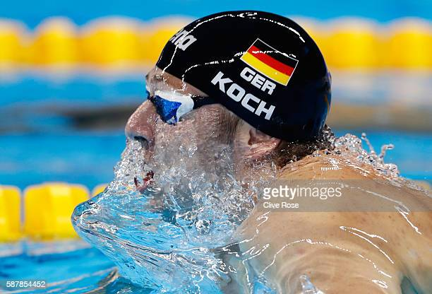 Marco Koch of Germany in the second Semifinal of the Men's 200m Breaststroke on Day 4 of the Rio 2016 Olympic Games at the Olympic Aquatics Stadium...