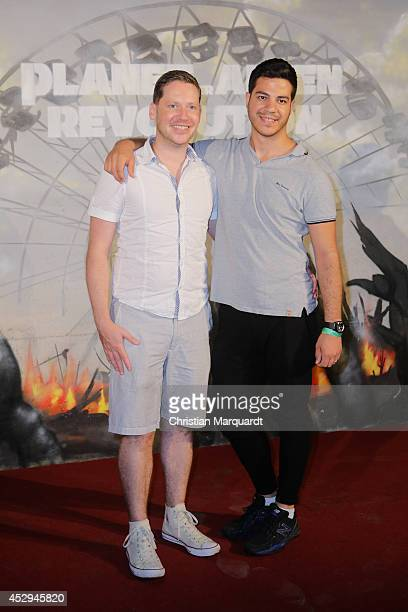 Marco Kreuzpaintner and Ludwig Trepte attend a special preview for the film 'Dawn of the Planet of the Apes' at Freizeitpark Spreepark on July 30...