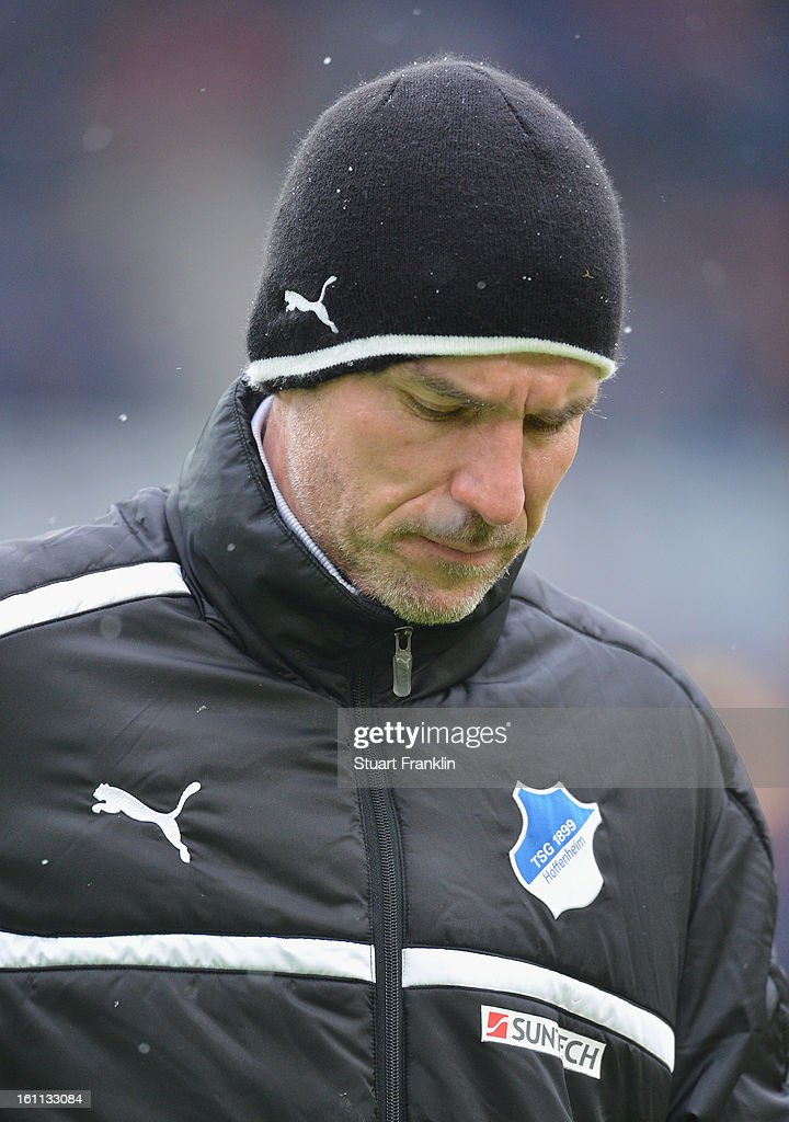 Marco Kruz, head coach of Hoffenheim looks dejected during the Bundesliga match between Hannover 96 and TSG 1899 Hoffenheim at AWD Arena on February 9, 2013 in Hannover, Germany.