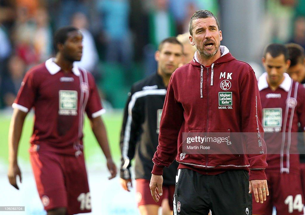 Marco Kurz head coach of Kaiserslautern looks dejected after the Bundesliga match between VfL Wolfsburg and 1 FC Kaiserslautern at the Volkswagen...