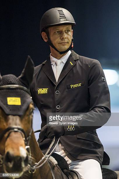 Marco Kutscher of Germany riding van Gogh at the the Massimo Dutti Trophy during the Longines Hong Kong Masters 2015 at the AsiaWorld Expo on 15...