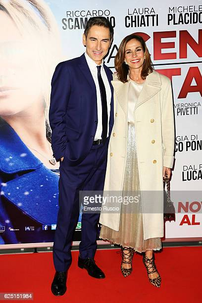 Marco Liorni and Cristina Parodi walk a red carpet for 'La Cena Di Natale' at Cinema Adriano on November 22 2016 in Rome Italy