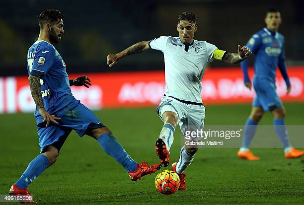Marco Livaja of Empoli FC battles for the ball with Lucas Biglia of SS Lazio during the Serie A match between Empoli FC and SS Lazio at Stadio Carlo...