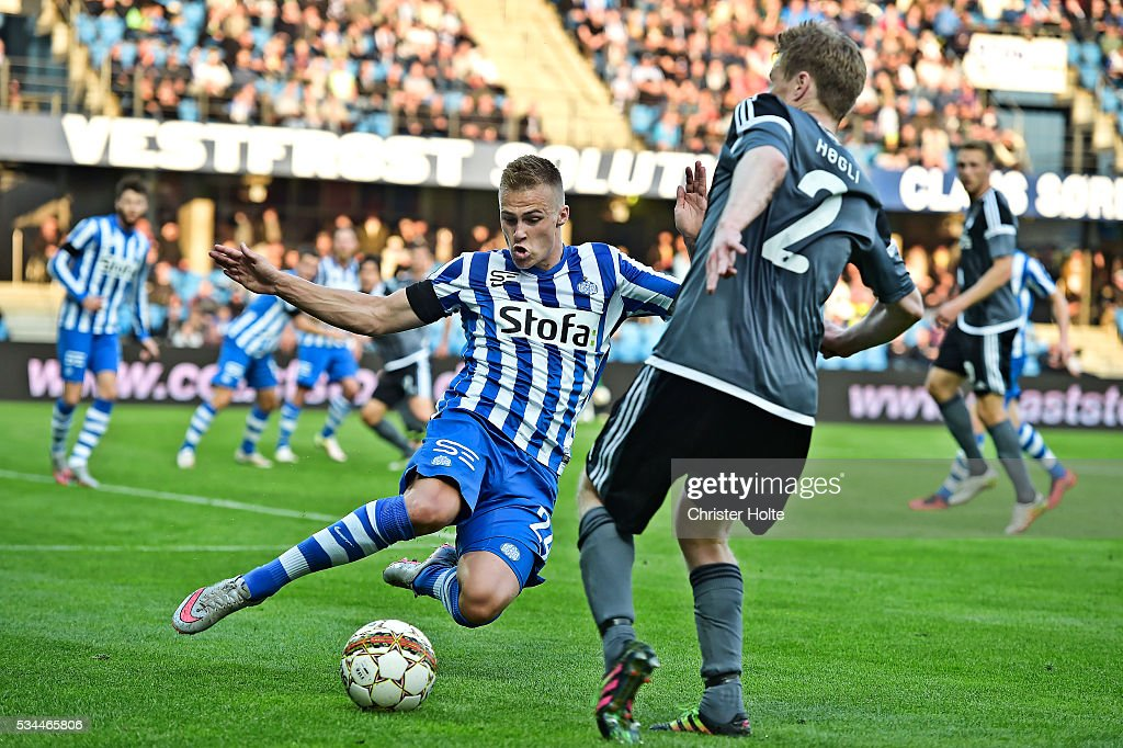 Marco Lund of Esbjerg fB and Tom Hogli of FC Copenhagen. The Danish Alka Superliga match between Esbjerg fB and FC Copenhagen at Blue Water Arena on May 26, 2016 in Esbjerg, Denmark.