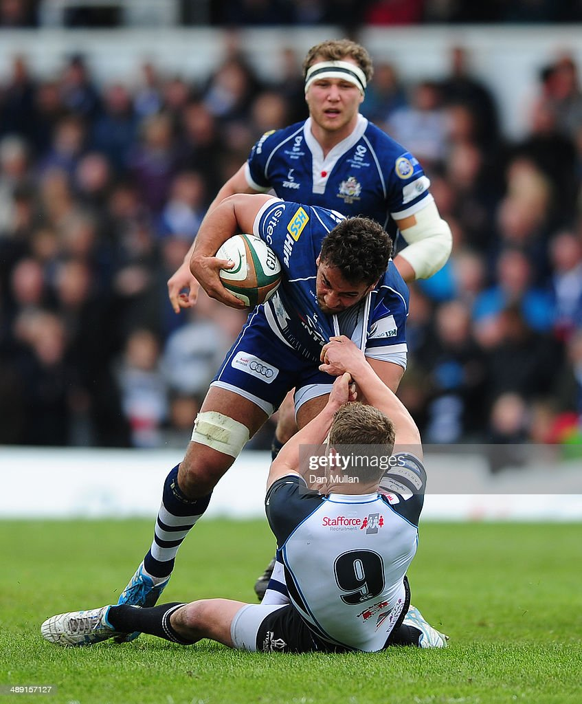 Marco Mama of Bristol is tackled by Charlie Mulchrone of Rotherham Titans during the Greene King IPA Championship Play Off First Leg match between Bristol Rugby and Rotherham Titans at The Memorial Ground on May 10, 2014 in Bristol, England.