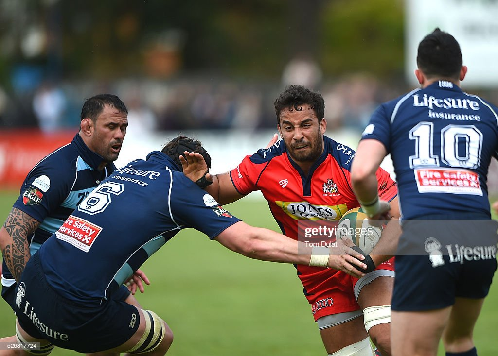 Marco Mama of Bristol Rugby in action during the Greene King IPA Championship Play Off Semi Final first leg match between Bedford Blues and Bristol Rugby at Goldington Road on May 1, 2016 in Bedford, England. (Photo by Tom Dulat/Getty Images).