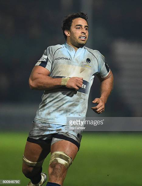 Marco Mama of Worcester in action during the European Rugby Challenge Cup match between Worcester Warriors and Gloucester Rugby at Sixways Stadium on...