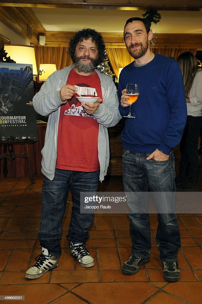 Marco Manetti and Antonio Manetti attend Zucca Spirito Noir Cocktail Party 23rd Courmayeur Noir In Festival on December 14 2013 in Courmayeur Italy