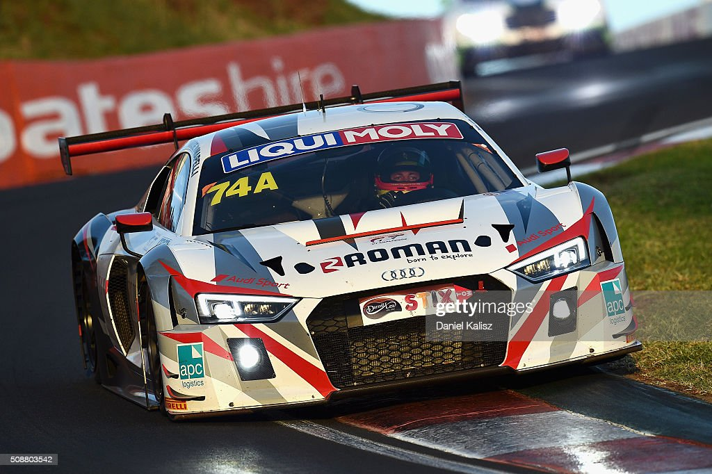 Marco Mapelli drives the #74 Audi R9-LMS during the Bathurst 12 Hour Race at Mount Panorama on February 7, 2016 in Bathurst, Australia.