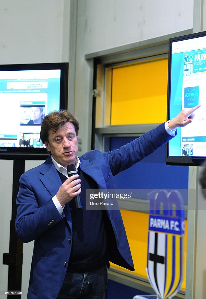 Marco Marchi of Parma Brand attends an event to unveil the FC Parma centenary logo at Stadio Ennio Tardini on February 27, 2013 in Parma, Italy.