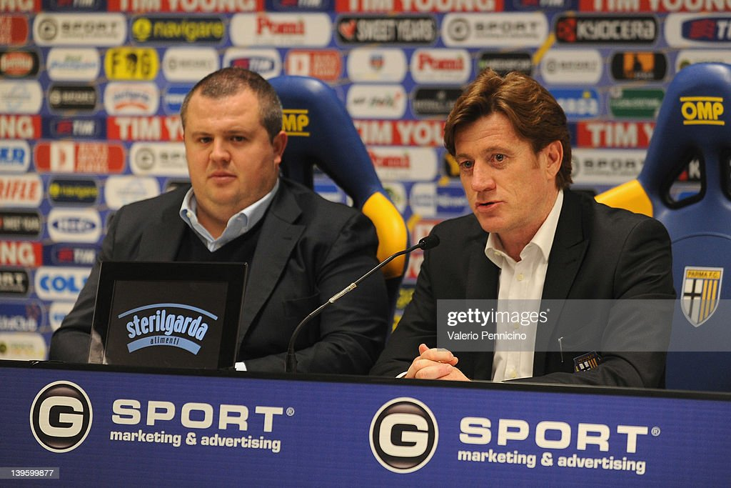 Marco Marchi talks to the media during a press conference to officially annouce the partnership between Parma FC and Jangsu Sainty FC at Stadio Ennio...
