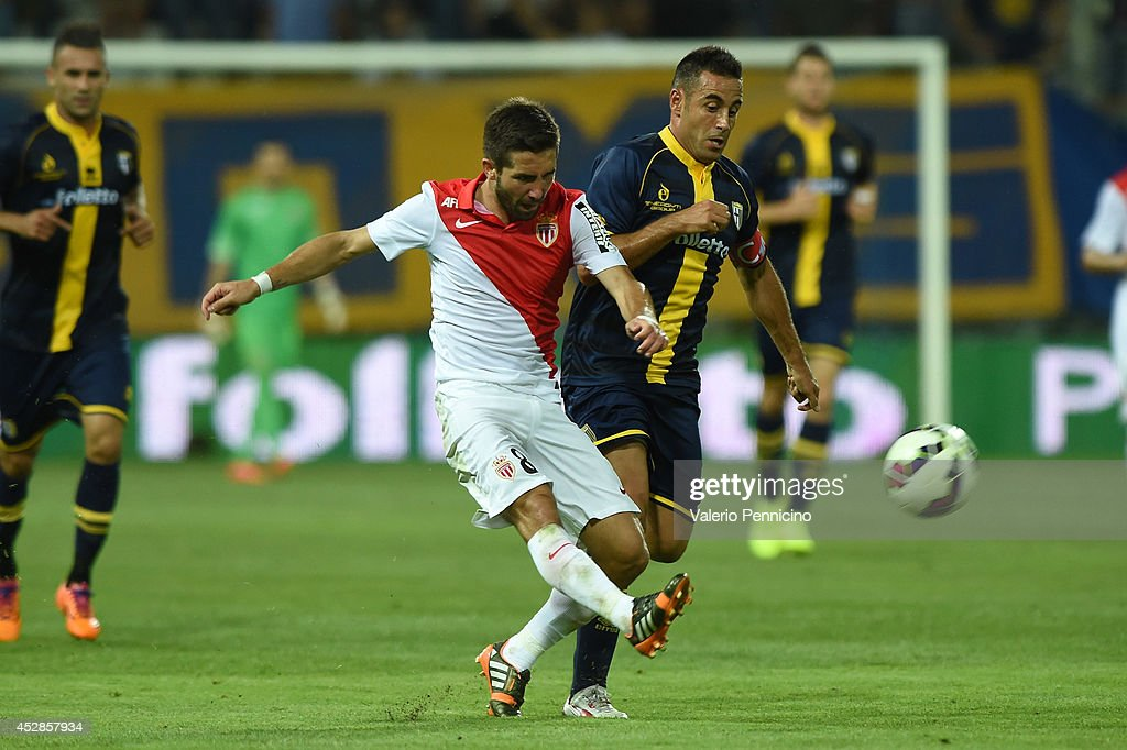 Marco Marchionni of FC Parma competes with Moutinho of AS Monaco FC during the preseason friendly match between FC Parma and AS Monaco FC at Stadio...