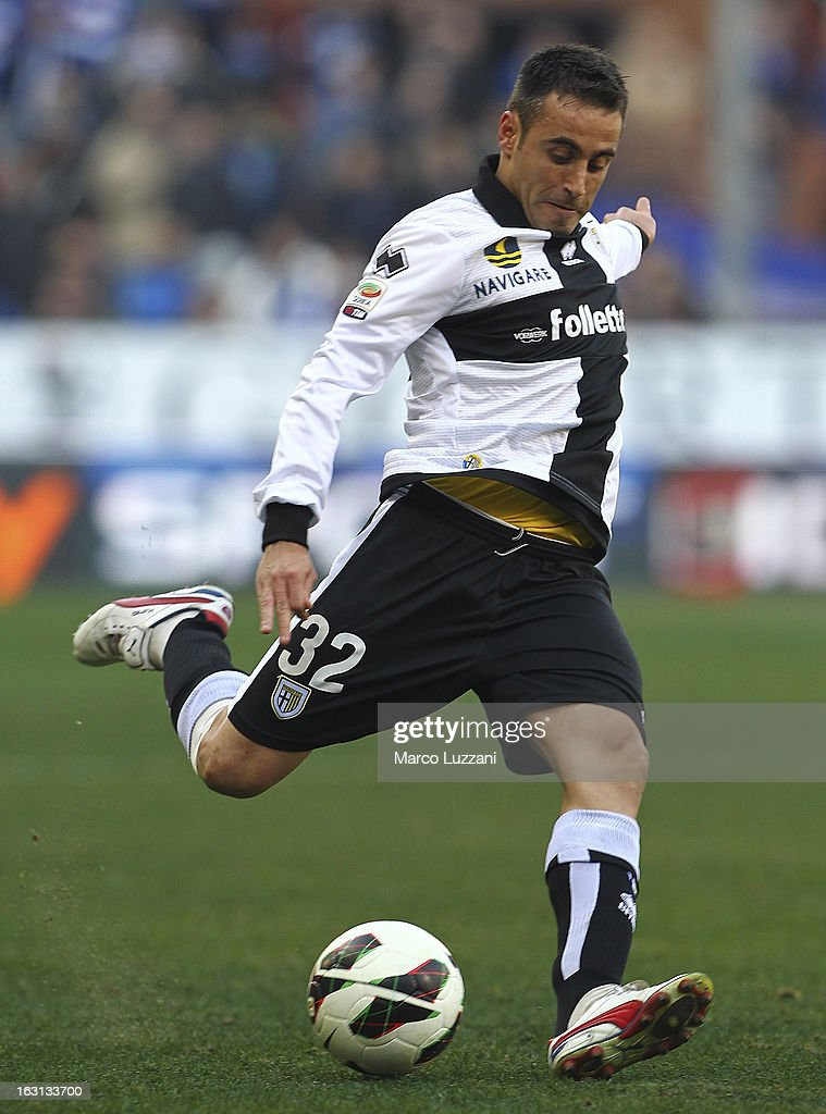 Marco Marchionni of Parma FC in action during the Serie A match between UC Sampdoria and Parma FC at Stadio Luigi Ferraris on March 3, 2013 in Genoa, Italy.