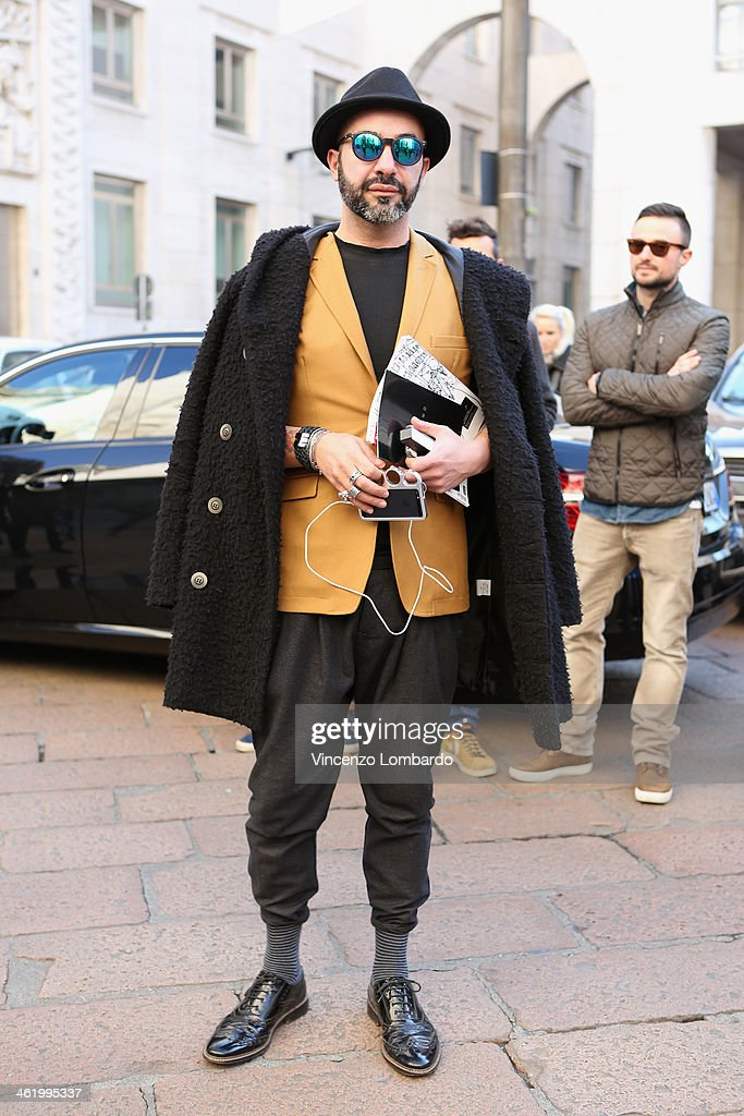 Marco Maria Conte Salata is seen during Milan Fashion Week Menswear Autumn/Winter 2014 on January 12, 2014 in Milan, Italy.