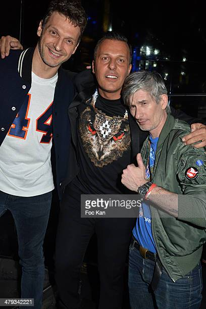 Marco Marzilli Jean Roch Pedri and Kavinsky attend the Kavinsky Olympia Concert After DJ Set Party at the VIP Room Theater on March 17 2014 in Paris...