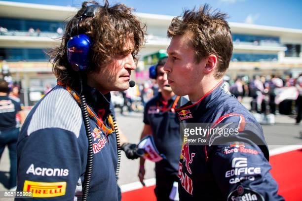 Marco Matassa of Italy with Daniil Kvyat of Scuderia Toro Rosso and Russia during the United States Formula One Grand Prix at Circuit of The Americas...