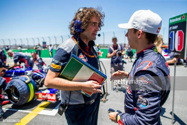 Marco Matassa of Scuderia Toro Rosso and Italy chats with Pierre Gasly of Scuderia Toro Rosso and France during the Formula One Grand Prix of Brazil...