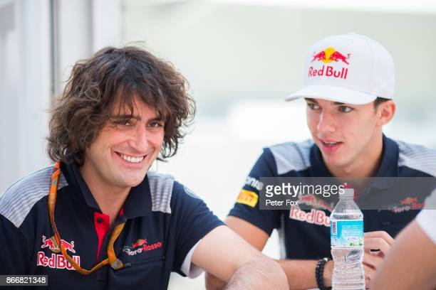 Marco Matassa of Scuderia Toro Rosso and Italy with Pierre Gasly of Scuderia Toro Rosso and France during previews to the Formula One Grand Prix of...