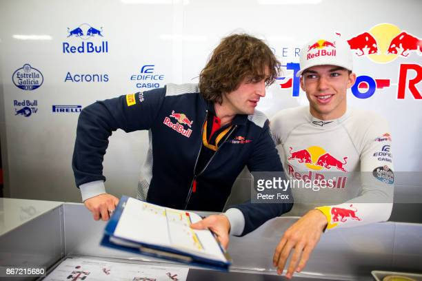 Marco Matassa of Scuderia Toro Rosso and Italy with Pierre Gasly of Scuderia Toro Rosso and France during practice for the Formula One Grand Prix of...