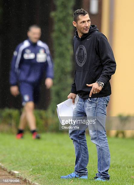 Marco Materazzi attends during a training session at Coverciano on October 9 2012 in Florence Italy