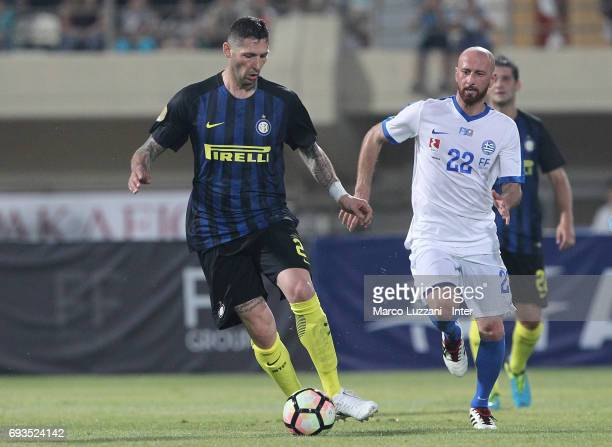 Marco Materazzi of Inter Forever in action during the friendlt match between Greece 2004 and Inter Forever at Pankrition Stadium on June 7 2017 in...