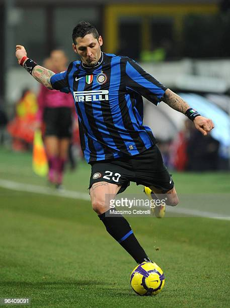 Marco Materazzi of Internazionale Milan in action during the first leg semifinal Tim Cup between FC Internazionale Milano and ACF Fiorentina at...