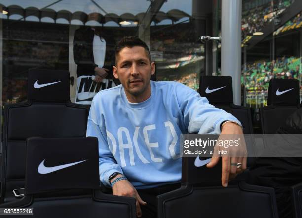 Marco Materazzi poses for a photo prior to the Serie A match between FC Internazionale and Atalanta BC at Stadio Giuseppe Meazza on March 12 2017 in...