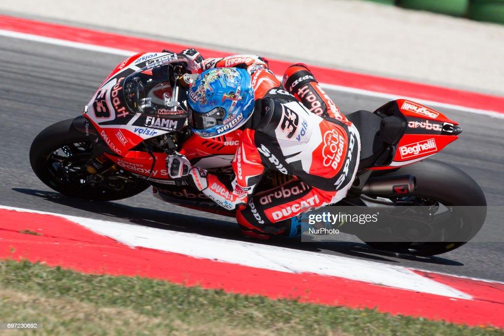 "Marco Melandri of Aruba.it Racing - Ducati during the race 2 of the Motul FIM Superbike Championship, Riviera di Rimini Round, at Misano World Circuit ""Marco Simoncelli"", on June 18, 2017 in Misano Adriatico, Italy"
