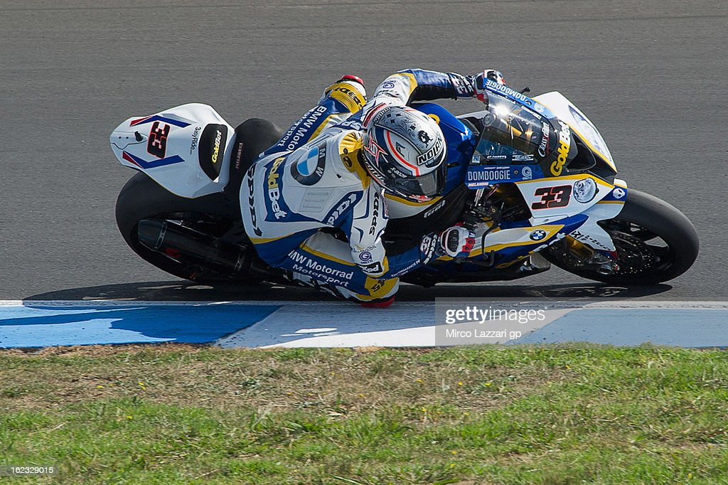 <a gi-track='captionPersonalityLinkClicked' href=/galleries/search?phrase=Marco+Melandri&family=editorial&specificpeople=204382 ng-click='$event.stopPropagation()'>Marco Melandri</a> of Italy and BMW Motorrad GoldBet SBK rounds the bend during qualifying practice ahead of the World Superbikes at Phillip Island Grand Prix Circuit on February 22, 2013 in Phillip Island, Australia.