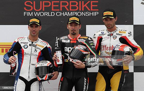 Marco Melandri of Italy and rider of the BMW Motorrad Motorsport BMWMax Biaggi of Italy and rider of the Aprilia Racing Team Aprillia and Sylvain...