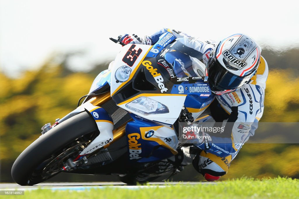 <a gi-track='captionPersonalityLinkClicked' href=/galleries/search?phrase=Marco+Melandri&family=editorial&specificpeople=204382 ng-click='$event.stopPropagation()'>Marco Melandri</a> of Italy riding the #33 BMW Motorrad Goldbet SBK Team during free practice ahead of the World Superbikes at Phillip Island Grand Prix Circuit on February 22, 2013 in Phillip Island, Australia.