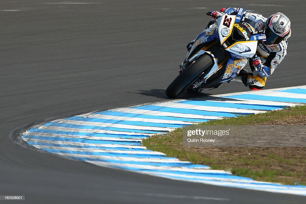<a gi-track='captionPersonalityLinkClicked' href=/galleries/search?phrase=Marco+Melandri&family=editorial&specificpeople=204382 ng-click='$event.stopPropagation()'>Marco Melandri</a> of Italy riding the #33 BMW Motorrad Goldbet SBK Team during Qualifying ahead of the World Superbikes at Phillip Island Grand Prix Circuit on February 22, 2013 in Phillip Island, Australia.