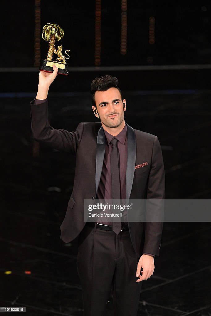 <a gi-track='captionPersonalityLinkClicked' href=/galleries/search?phrase=Marco+Mengoni&family=editorial&specificpeople=6745965 ng-click='$event.stopPropagation()'>Marco Mengoni</a> attend the closing night of the 63rd Sanremo Song Festival at the Ariston Theatre on February 16, 2013 in Sanremo, Italy.