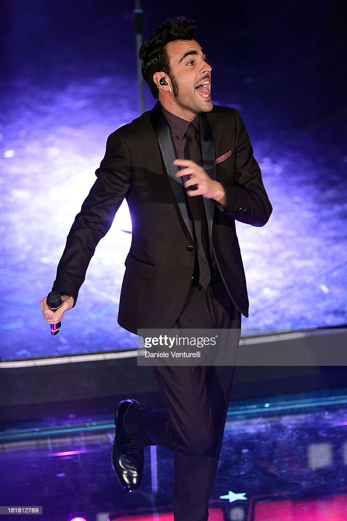 <a gi-track='captionPersonalityLinkClicked' href=/galleries/search?phrase=Marco+Mengoni&family=editorial&specificpeople=6745965 ng-click='$event.stopPropagation()'>Marco Mengoni</a> attends the closing night of the 63rd Sanremo Song Festival at the Ariston Theatre on February 16, 2013 in Sanremo, Italy.