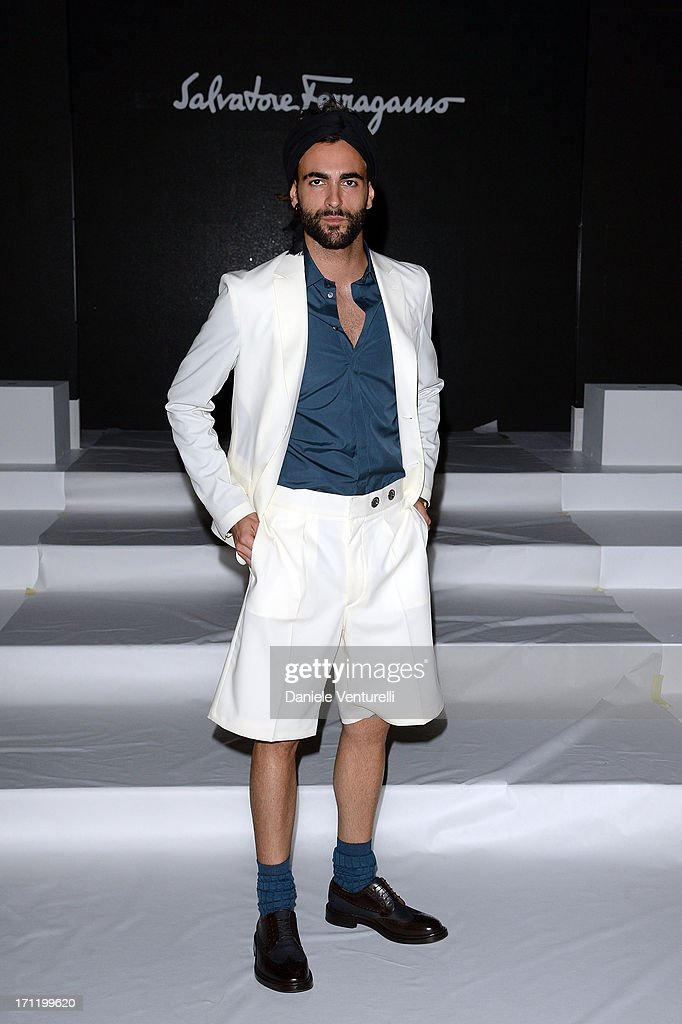 Marco Mengoni attends the 'Salvatore Ferragamo' show as part of Milan Fashion Week Spring/Summer 2014 on June 23, 2013 in Milan, Italy.