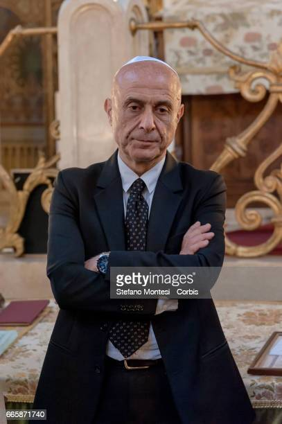 Marco Minniti Interior Minister during a visit to the Jewish Community of Rome in the Great Synagogue of Rome on April 7 2017 in Rome Italy The...