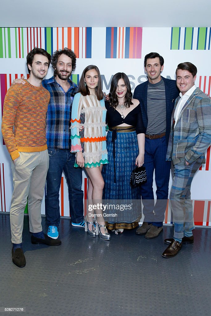 Marco Missoni, Francesco Maccapani Missoni, <a gi-track='captionPersonalityLinkClicked' href=/galleries/search?phrase=Jennifer+Missoni&family=editorial&specificpeople=615013 ng-click='$event.stopPropagation()'>Jennifer Missoni</a>, Teresa Maccapani Missoni, Ottavio Missoni and Giacommo Missoni attends the Missoni Art Colour preview in partnership with The Woolmark Company at The Fashion and Textile Museum on May 4, 2016 in London, England.